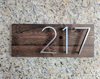 Dark Walnut Modern Reclaimed Wood House Address Number Sign