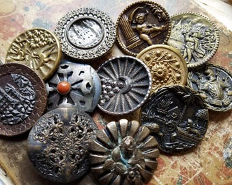 TWELVE (12) Large, Antique, Metal, Victorian Picture Buttons Other. Some wear and age.