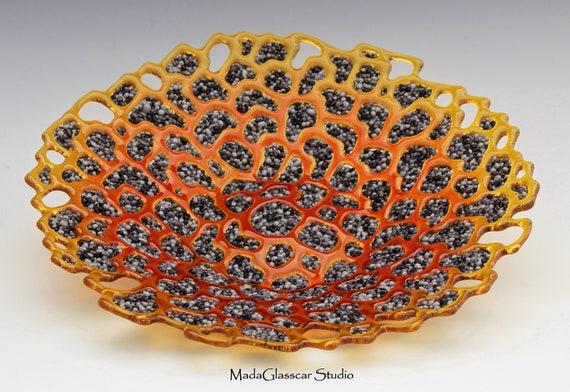 Hot Lava Fused Glass Bowl