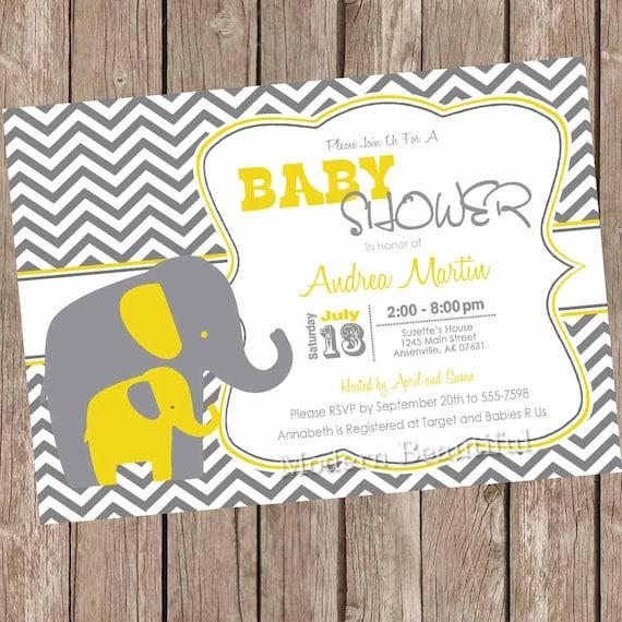 Lovely Yellow And Gray Elephant Baby Shower Invitation, Yellow, Grey, Elephant,  Chevron, Printable Invitation