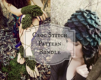 Crochet PATTERN BUNDLE - Croc Stitch Accessories / Sylphie Croc Stitch Hat (3 sizes) and Mermaid Mitts & Sandals - 2 Instant Download PDFs