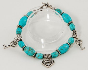 Turquoise and charm bracelet - 'Protect Me'