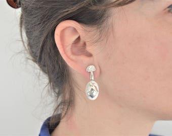Interchangeable hazelnut and mushroom earrings in silver/Interchangeable ear during Hazelnut and Mushroom in silver