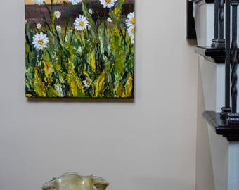 A Daisy Sunrise - Medium Size Acrylic Painting, Deep Texture, Original Piece