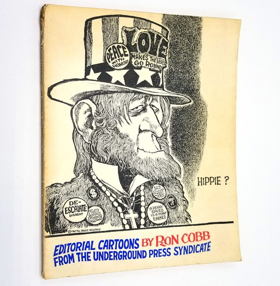Mah Fellow Americans: Editorial Cartoons from the Underground Press Syndicate by Ron Cobb 1969 Real Free Press Amsterdam, The Netherlands