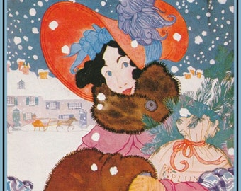 Pack of five Christmas Cards Vogue fashion illustration 1920