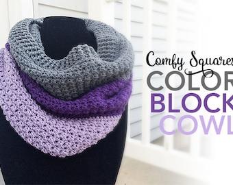 Pattern: Comfy Squares Color Block Cowl Crochet Pattern PDF (Cowl Crochet Pattern by Little Monkeys Crochet) Cowl Crochet Pattern Easy Cowl