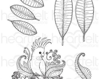"Heartfelt Creations ""Tropical Cockatoo"" Cling Stamp Set HCPC-3781"