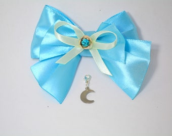 Cat bowtie 'Blue Moon' bling blue bowtie with rhinestone centre and moon charm - blue satin cat bow tie - bow tie for cat collars