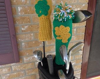 Shamrock or Notre Dame Irish Golf Club Cover! Gold or Green Shamrock golf club cover!!