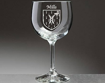 Mills Irish Coat of Arms Red Wine Glasses - Set of 4 (Sand Etched)