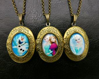 Frozen Olaf locket Necklace, 1318M