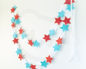 Felt Star Garland - Red, white & blue wool blend felt bunting, perfect for 4th July celebrations and home decor