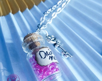 Magenta Drink Me Alice in Wonderland Bottle Charm Necklace
