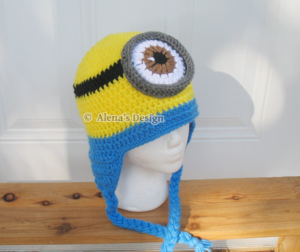 Crochet Hat Pattern 200 Minion Hat Ear Flap Hat Crochet Pattern ...