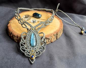LABRADORITE necklace, Macrame necklace, Bridal jewelry, Woman necklace, Elegant, Boho style, Bohemian necklace, Micromacrame, Healing