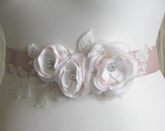 Blush ribbon sash Ivory wedding sash Blush wedding sash Ivory pink sash Ivory lace sash Blush bridesmaid sash Pale pink sash Pink wedding