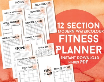 Printable Fitness Planner - Modern Floral - 12 Sections - Diet Exercise & Weight Loss Tracker Health Fitness Journal - Instant Download PDF