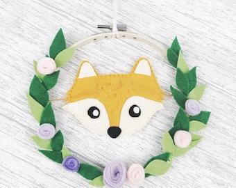 Fox art, cute wall art, nursery decor, fox wreath, quirky kids art, wildlife print, tropical art, felt hoop art
