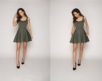 Flared dress, Dress with pockets, Circle dress, Knee length dress, Midi dress, Handmade dress, Custom dress