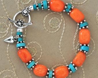 Striking Turquoise Orange Bracelet with Toggle Clasp & Heart Charm