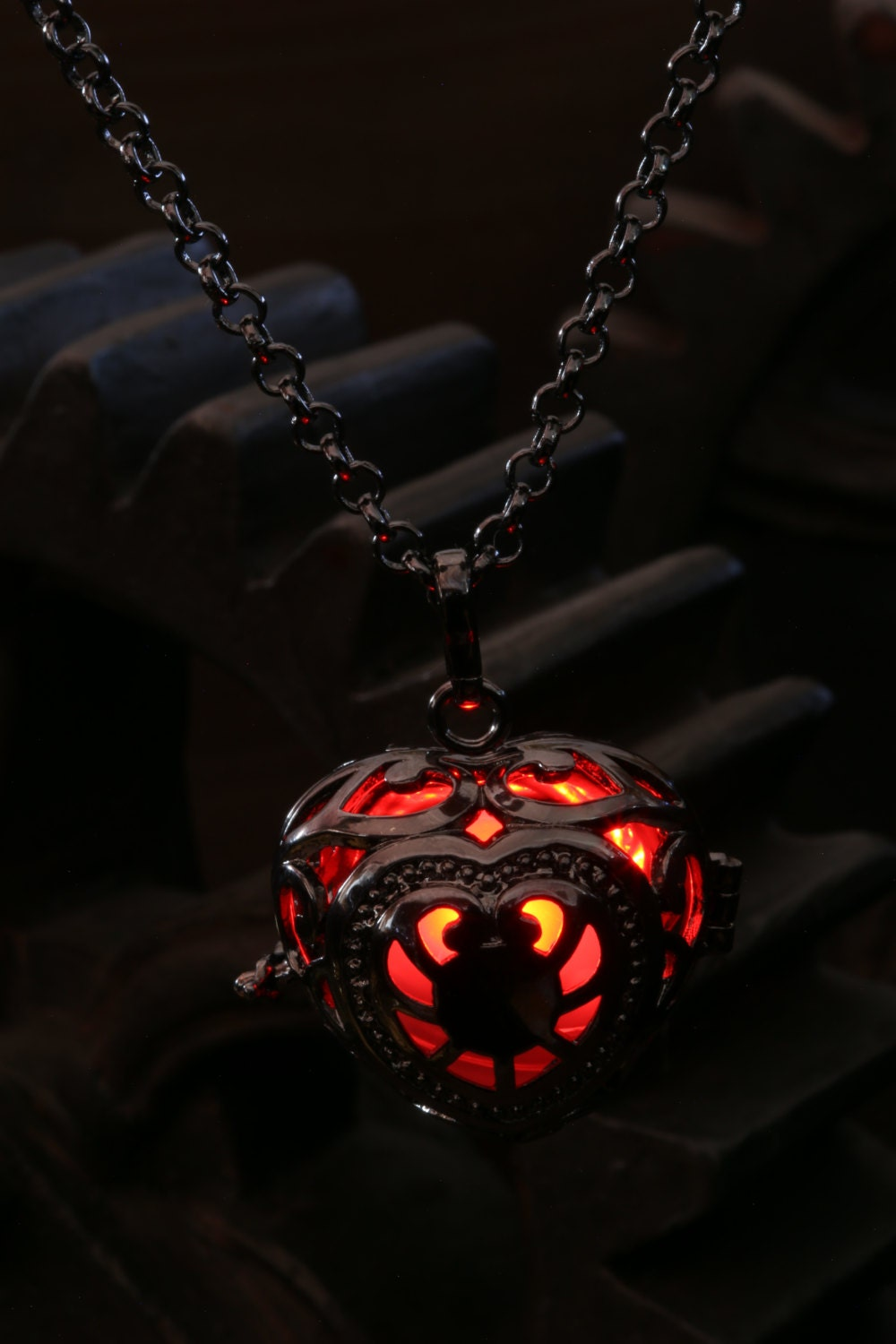 chain boy glowing necklace men rinhoo item from pendant jewelry in glow necklaces dark the for steel accessories gift zombie shadow stainless steampunk fire