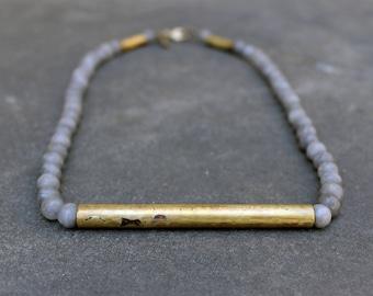 Grey Stone Necklace, Long Boho Necklace, Natural Gemstone Necklace, Bohemian Necklace, Jade Necklace, Boho Necklace, Gemstone Gold Necklace