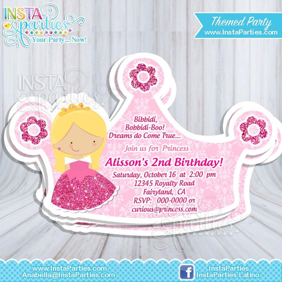 Princess Aurora party invitations Pink Princesses sleeping
