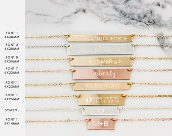 Horizontal Bar Necklace • Choose Your Size and Setting • Bar Necklace • Gold Bar, Rose Gold Bar, Silver Bar • Custom Nameplate Bar Necklace