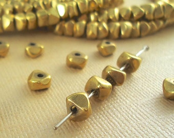 20 Brass Nugget Chip Beads 6mm Heishi Disc Metal Spacer Chunky BOHO Faceted Quality Solid Brass Natural Beads Unique Jewelry making parts