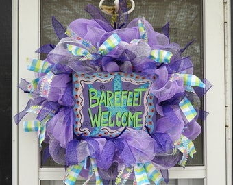 Summer Barefeet Welcome Deco Mesh Wreath