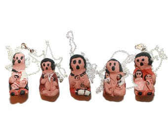 Vintage Handmade Clay Mayan Native Dolls - Mother and child handmade native american necklace charm pendant red clay