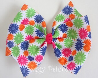 Springtime Flowers Bow - Bright Pinwheel - No Slip Velvet Grip Hair Clip