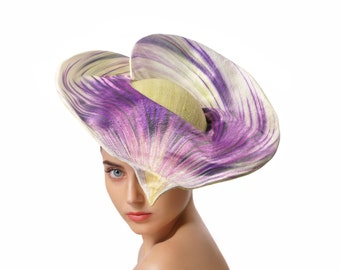 Purple and Green Silk Headpiece, Floral Hat