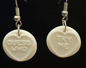 Handmade Fimo White Loveheart Sweets Earrings
