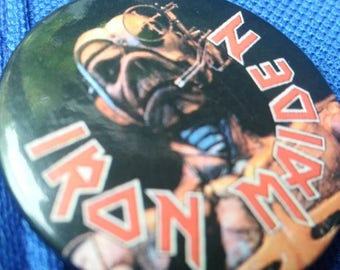 Iron Maiden , 1987 original pin , Somewhere in Time !!!