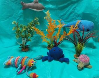 Handmade knitted Ocean Creatures-set of 5
