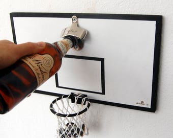 Wall mounted bottle opener, wooden beer bottle opener, cap catcher, basket, basketball, basketball beer opener, basketball bottle opener