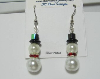 Earrings Pearl Snowman Rondell Scarf Dangle Choose Ear Wire Style