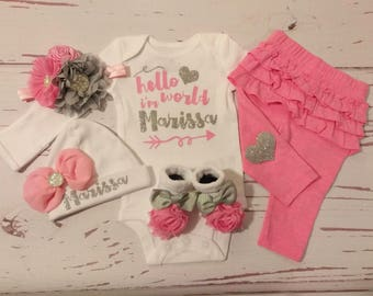 Baby Girl Coming Home Outfit, Baby Girl Clothes, Personalized, Newborn Girl, Outfit, Name, Take Home, Newborn Baby, Hello World, Princess