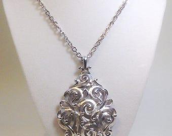 Gorgeous Vintage TRIFARI Ornate Scroll Medallion Necklace /60's Sarah Coventry Boho Glam Long Necklace/Silvertone Medallion