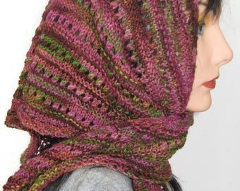 Alpaca Shawlette , Hand Knit Wool Triangle Scarf, Alpaca Silk Shawl
