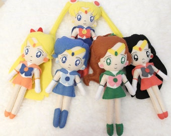 Sailor Warriors Full Set Handmade Felt Toy Sailor Moon Anime Manga