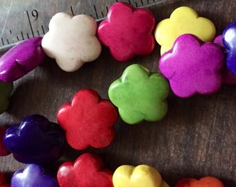 Turquoise Howlite Flower Beads (12 pieces)