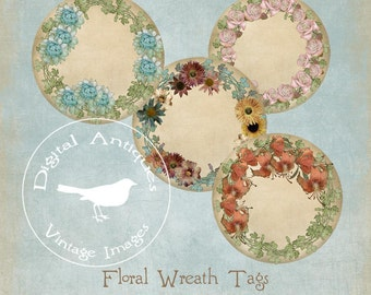 Round Floral Wreath Tags Digital Download