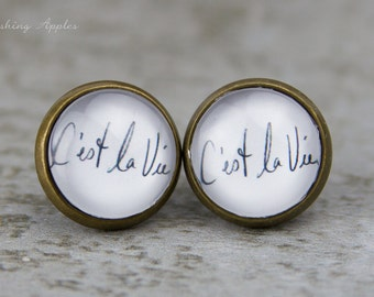 "Minimalistic earring studs, 12 mm ""C'est la Vie"" - in black and white, Quotes, Words"