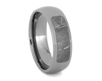 Meteorite Wedding Band in Polished Titanium, Partial Meteorite Jewelry