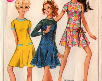 1968 TEENS' DRESS PATTERN Simplicity #7733 Size 13-14 Young Junior Retro Style Drop Waist Spring Summer Easter Vintage Sewing