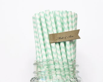 Mint Green Paper Straws, 25 Mint Chevron Paper Straws, Wedding Table Setting, Pink Mint Baby Shower, Kids Birthday Party, Made in USA,