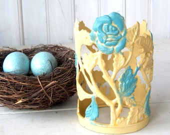 Vintage Painted Metal Candleholder Blue and Yellow Roses Motif Made in Taiwan